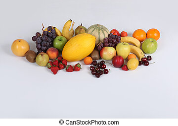 Studio shot illustrating a variety of fruit