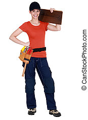 Confident female woodworker