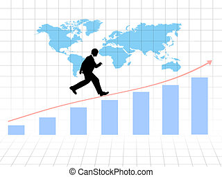 Businessman running on growing graph