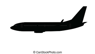 Single medium size aircraft silhouette, black and grey...