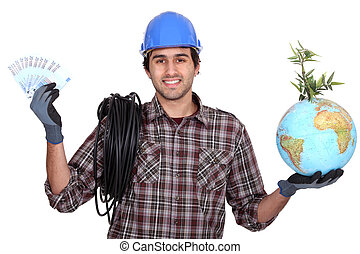 Electrician holding glove and cash
