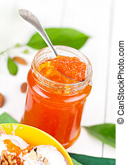 homemade apricot jam with spoon
