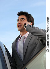 Businessman on the phone next to a car
