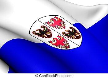 Trentino-Alto Adige Flag, Italy. Close Up.