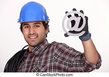Workers with email symbol