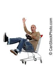 achats, Conduite, charrette, homme