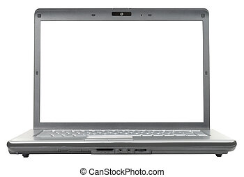 Classic Notebook - New classic gray laptop isolated with...