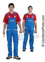 Painters with blue overalls and red-shirt