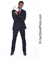 Man in suit holding megaphone