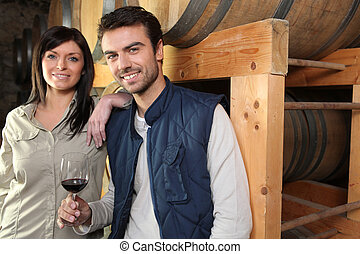 Wine tasting at the winery couple