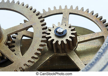 Clock Gears Macro - Macro view of gears from an antique...