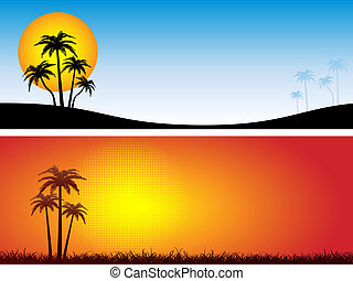Summer scenes with palm trees