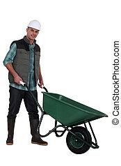 construção, trabalhador, carrinho de...