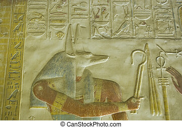 Ancient Egyptian Anubis carving - Ancient bas relief carving...