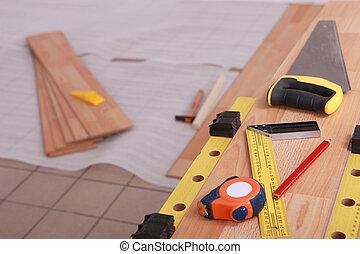 Tools on laminate flooring
