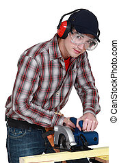 Man using circular saw