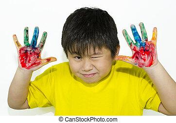 festmény, kéz