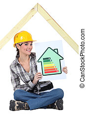 Female construction worker with an energy rating sign