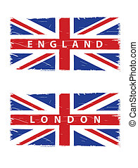 grunge Union Jack flags with titles London and England