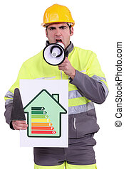 craftsman holding an energy consumption label and a megaphone