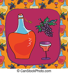 Winery card with bottle and grape pattern