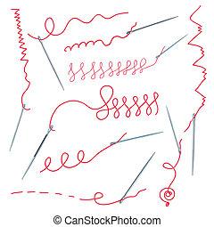 agulhas, fio, cobrança, costuras