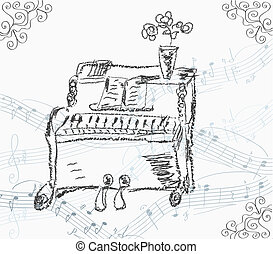 Musical background with piano and stave