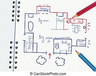 lápis, caderno, plano, família, casa