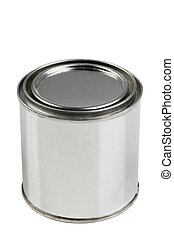 Tin paint can on a white background