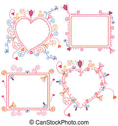 Floral frames set with hearts and decorations