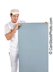 Painter with gray panel