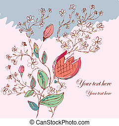 Spring background with flowers and tulip