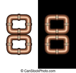 Copper Tubing Fittings 3D Number 8