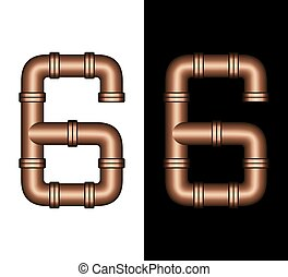 Copper Tubing Fittings 3D Number 6