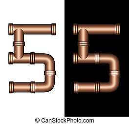Copper Tubing Fittings 3D Number 5
