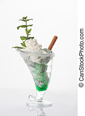 Ice cream sundae in glass