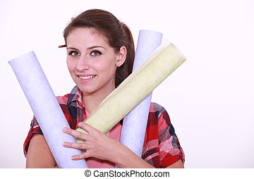 Woman with paper rolls