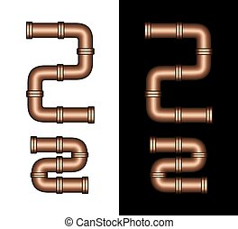 Copper Tubing Fittings 3D Letter Z