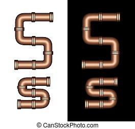 Copper Tubing Fittings 3D Letter S - Illustration of...