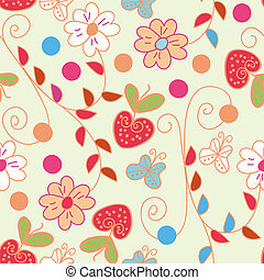 Seamless spring pattern with strawberries
