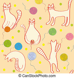 Seamless pattern with funny cats and clews