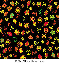 Autumn flowers and leaves seamless pattern