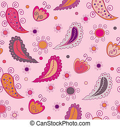 Seamless vector paisley pink background