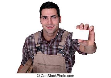 carpintero, tenencia, blanco, empresa / negocio, tarjeta
