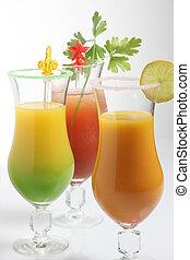 Three fresh fruit cocktails