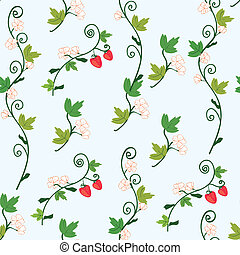 Strawberry seamless pattern with berries and flowers