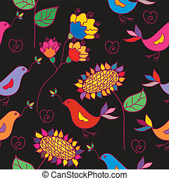 Dark seamless floral pattern with traditional birds