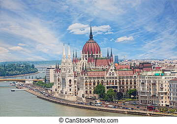 View of a building of the Hungarian parliament, Danube and...