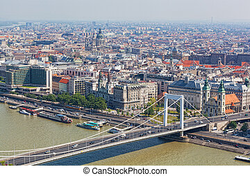 View of the white bridge and Danube in Budapest from height...