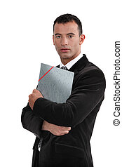 Young law graduate holding folder